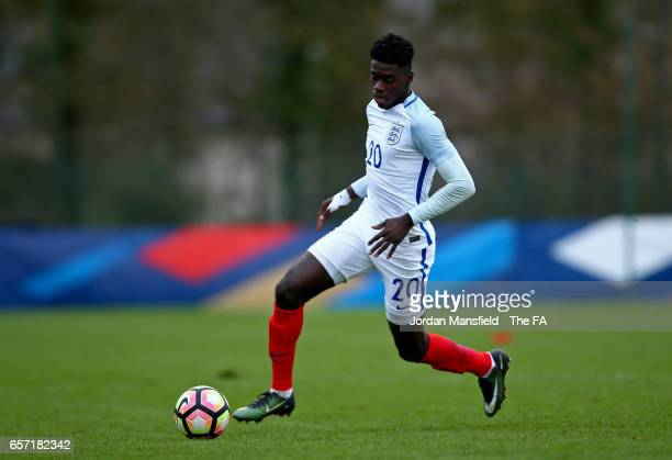 Axel Tuanzebe of England in action during the UEFA U20 International Friendly match between England and Portugal at Stade de Chateau Bily on March 23...