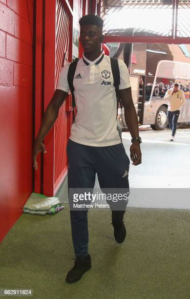 Axel Tuanzebe of Manchester United arrives ahead of the Premier League match between Manchester United and West Bromwich Albion at Old Trafford on...