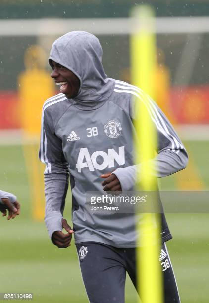 Axel Tuanzebe of Manchester United in action during a first team training session at Aon Training Complex on August 1 2017 in Manchester England
