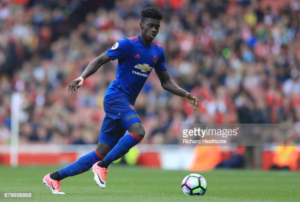 Axel Tuanzebe of Manchester United in action during the Premier League match between Arsenal and Manchester United at the Emirates Stadium on May 7...