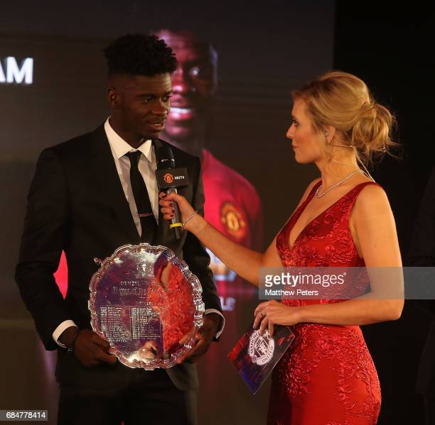 Axel Tuanzebe of Manchester United is interviewed by presenter Rachel Riley at the Manchester United annual Player of the Year awards at Old Trafford...