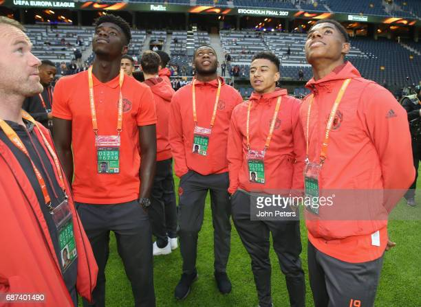 Axel Tuanzebe Timothy FosuMensah Jesse Lingard and Marcus Rashford of Manchester United walk on the pitch ahead of the UEFA Europa League Final at...