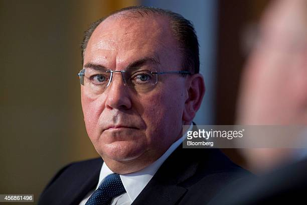 Axel Weber chairman of UBS AG listens to a question during a panel discussion at the Peterson Institute for International Economics in Washington DC...