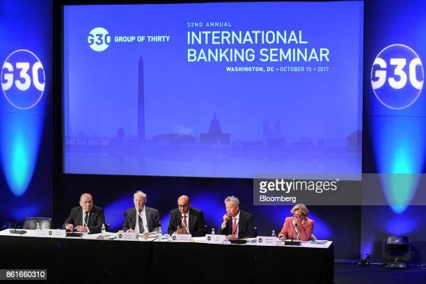 Axel Weber chairman of UBS Group AG from left Jacob Frenkel chairman of JP Morgan Chase International Tharman Shanmugaratnam Singapore's deputy prime...