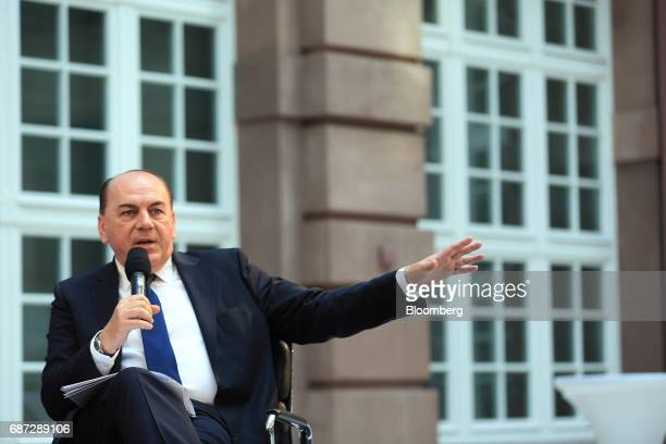 Axel Weber chairman of UBS Group AG gestures while speaking during the German Institute for Economic Research in Berlin women's finance summit in...