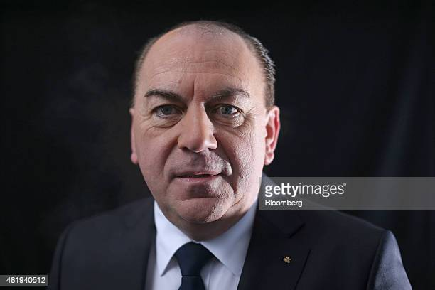 Axel Weber chairman of UBS Group AG poses for a photograph following a Bloomberg Television interview on day two of the World Economic Forum in Davos...