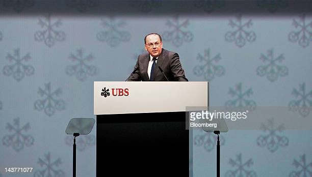 Axel Weber former president of the Deutsche Bundesbank and incoming chairman of UBS AG speaks during a the company's annual general meeting in Zurich...