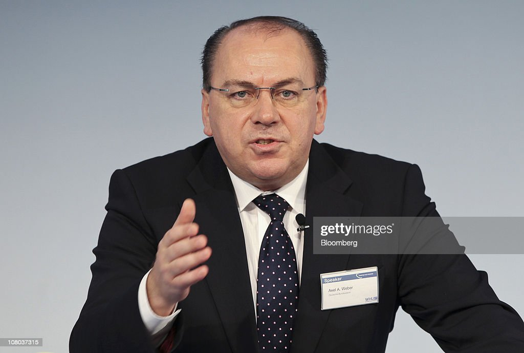 Axel Weber, president of the Deutsche Bundesbank, gestures during the Campus for Finance Conference in Vallendar, near Koblenz, Germany, on Friday, Jan.14, 2011. ECB President Jean-Claude Trichet yesterday put inflation fighting back on the central bank's agenda, signaling it will raise interest rates if needed to keep price gains in check. Photographer: Hannelore Foerster/Bloomberg via Getty Images