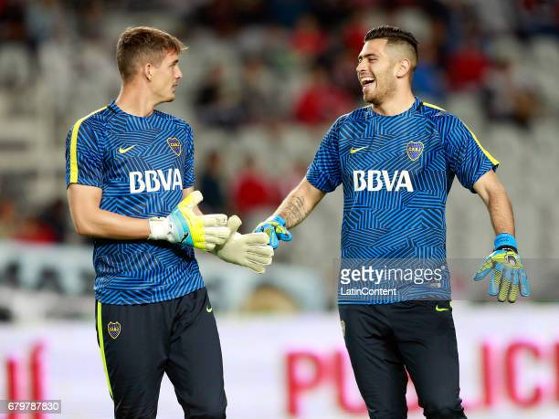 Axel Werner and Agustin Rossi of Boca Juniors smile prior to a match between Estudiantes and Boca Juniors as part of Torneo Primera Division 2016/17...