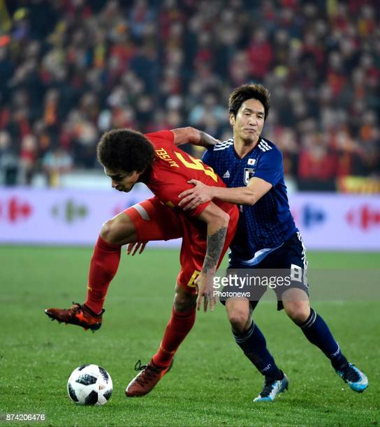 Axel Witsel midfielder of Belgium and Haraguchi Genki forward of Japan during the World Cup Friendly Preparation match between Belgium and Japan on...