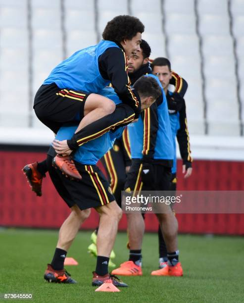 Axel Witsel midfielder of Belgium and Thomas Meunier defender of Belgium pictured during training session of the Belgian National Football Team prior...