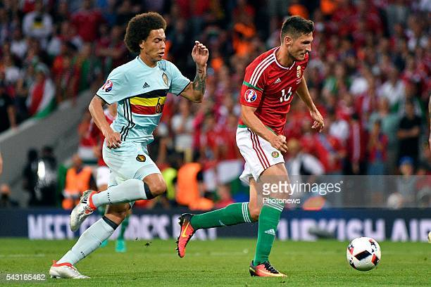 Axel Witsel midfielder of Belgium battles for the ball with Adam Pinter defender of Hungary during the UEFA EURO 2016 Round of 16 match between...
