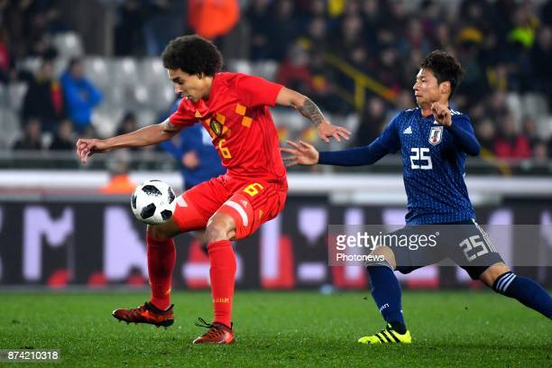 Axel Witsel midfielder of Belgium Nagasawa Kazuki midfielder of Japan during the World Cup Friendly Preparation match between Belgium and Japan on...