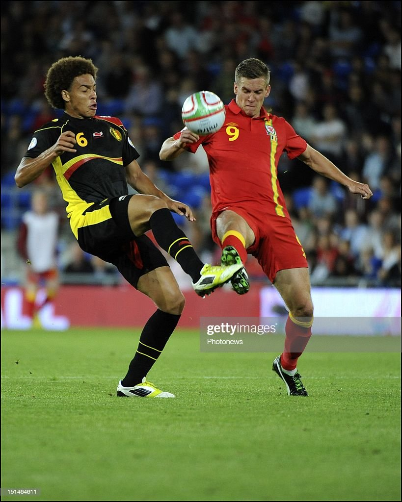 Axel Witsel of Belgium and Steve Morison of Wales during the FIFA 2014 World Cup Group A Qualifier between Wales and Belgium at Cardiff City Stadium on September 7, 2012 in Cardiff, Wales.