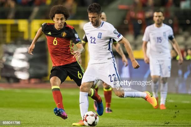 Axel Witsel of Belgium Andreas Samaris of Greeceduring the FIFA World Cup 2018 qualifying match between Belgium and Bosnie Herzegowina on October 07...