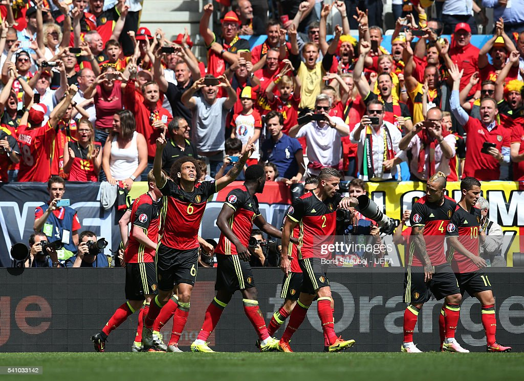 Axel Witsel of Belgium celebrates scoring his team's second goal with his team mates during the UEFA EURO 2016 Group E match between Belgium and Republic of Ireland at Stade Matmut Atlantique on June 18, 2016 in Bordeaux, France.
