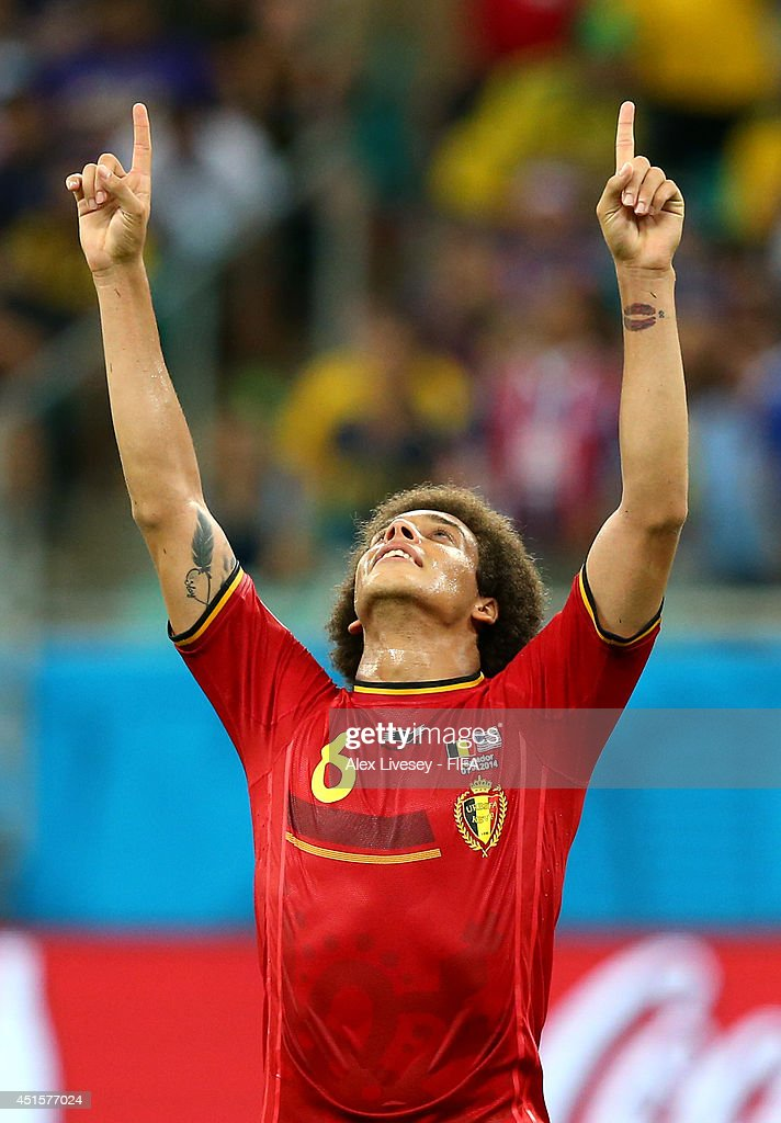 <a gi-track='captionPersonalityLinkClicked' href=/galleries/search?phrase=Axel+Witsel&family=editorial&specificpeople=4345455 ng-click='$event.stopPropagation()'>Axel Witsel</a> of Belgium celebrates the 2-1 win after the 2014 FIFA World Cup Brazil Round of 16 match between Belgium and USA at Arena Fonte Nova on July 1, 2014 in Salvador, Brazil.
