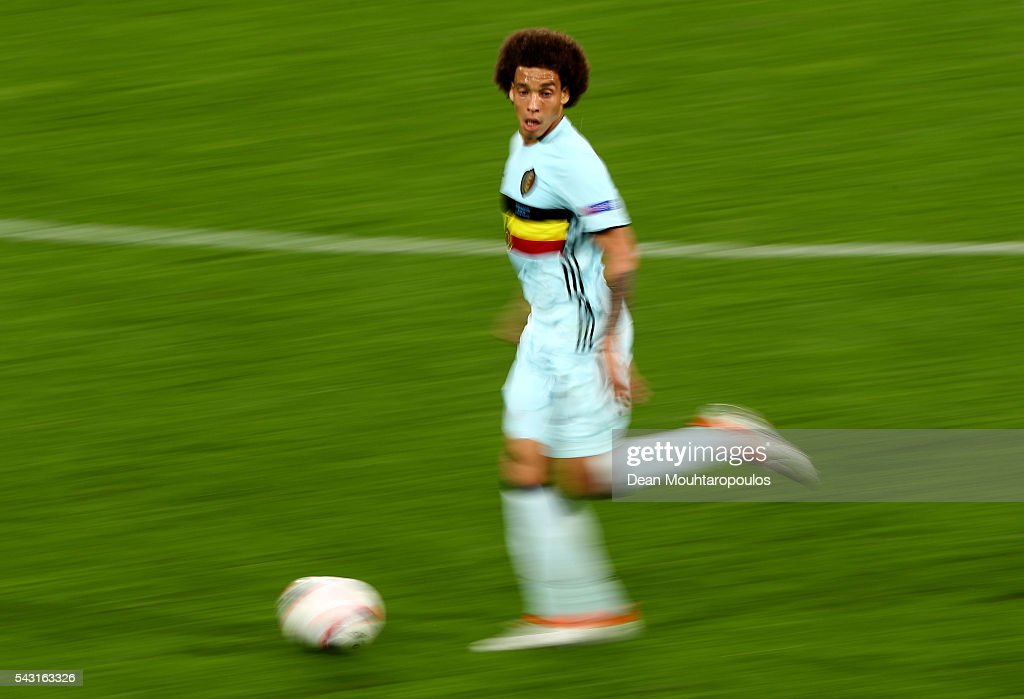 <a gi-track='captionPersonalityLinkClicked' href=/galleries/search?phrase=Axel+Witsel&family=editorial&specificpeople=4345455 ng-click='$event.stopPropagation()'>Axel Witsel</a> of Belgium in action during the UEFA EURO 2016 round of 16 match between Hungary and Belgium at Stadium Municipal on June 26, 2016 in Toulouse, France.