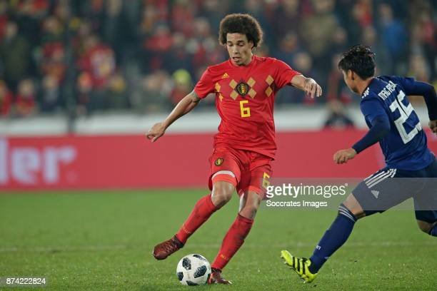 Axel Witsel of Belgium Kazuki Nagasawa of Japan during the International Friendly match between Belgium v Japan at the Jan Breydel Stadium on...