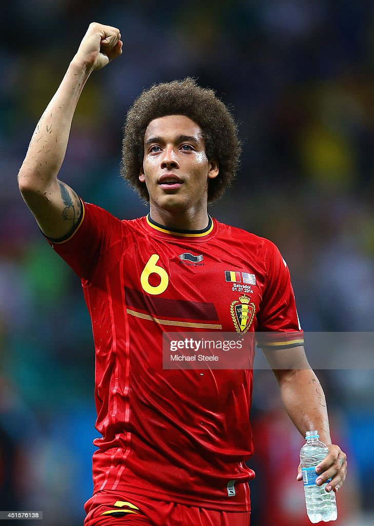 <a gi-track='captionPersonalityLinkClicked' href=/galleries/search?phrase=Axel+Witsel&family=editorial&specificpeople=4345455 ng-click='$event.stopPropagation()'>Axel Witsel</a> of Belgium reacts after defeating the United States 2-1 in extra time during the 2014 FIFA World Cup Brazil Round of 16 match between Belgium and the United States at Arena Fonte Nova on July 1, 2014 in Salvador, Brazil.