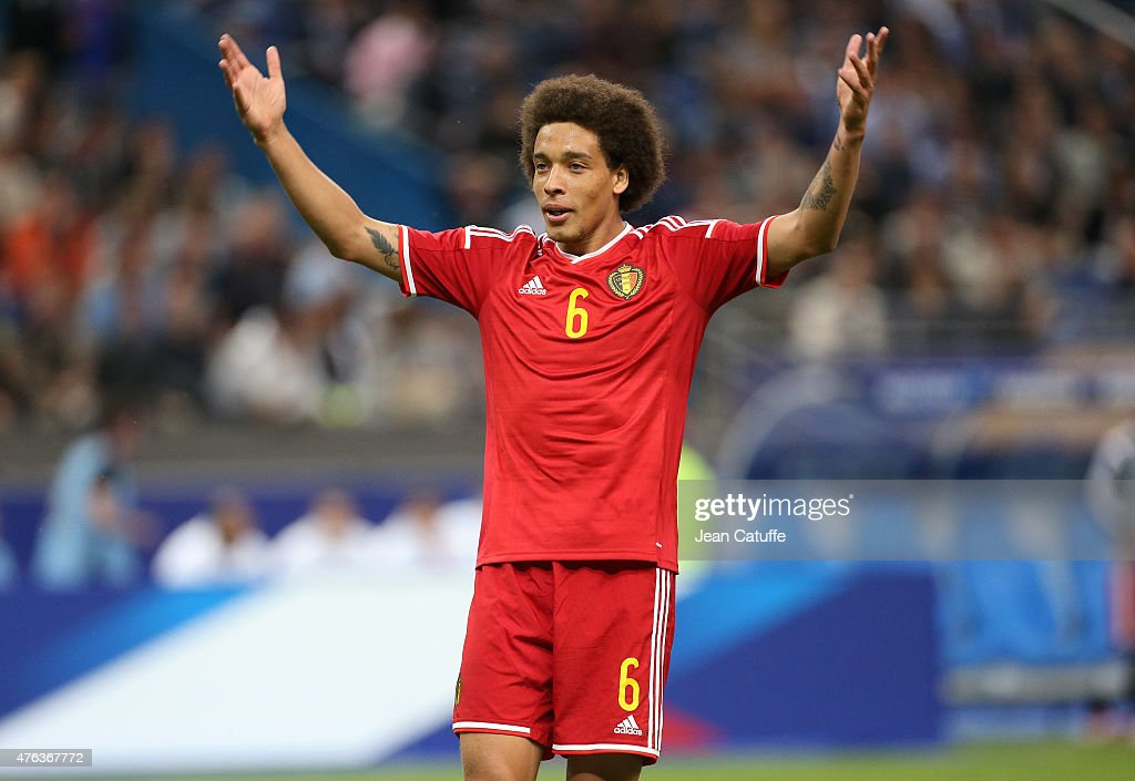 <a gi-track='captionPersonalityLinkClicked' href=/galleries/search?phrase=Axel+Witsel&family=editorial&specificpeople=4345455 ng-click='$event.stopPropagation()'>Axel Witsel</a> of Belgium reacts during the international friendly match between France and Belgium at Stade de France on June 7, 2015 in Saint-Denis nearby Paris, France.
