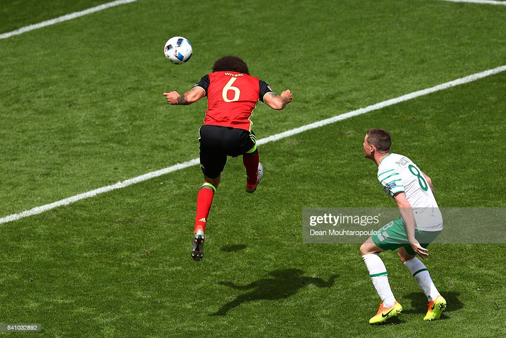 <a gi-track='captionPersonalityLinkClicked' href=/galleries/search?phrase=Axel+Witsel&family=editorial&specificpeople=4345455 ng-click='$event.stopPropagation()'>Axel Witsel</a> of Belgium scores his team's second goal during the UEFA EURO 2016 Group E match between Belgium and Republic of Ireland at Stade Matmut Atlantique on June 18, 2016 in Bordeaux, France.