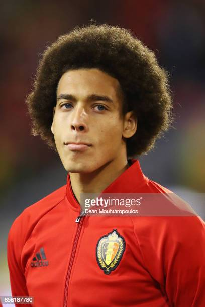 Axel Witsel of Belgium stands for the national anthem prior to the FIFA 2018 World Cup Group H Qualifier match between Belgium and Greece at Stade...