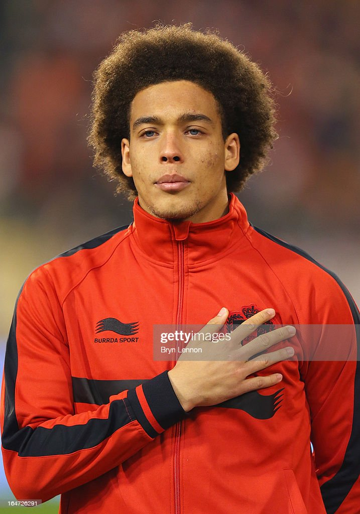 Axel Witsel of Belgium stands for the national anthems prior to the FIFA 2014 World Cup Qualifier between Belgium and Macedonia at Stade Roi Baudouis on March 26, 2013 in Brussels, Belgium.