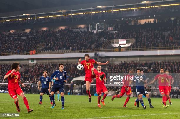 Axel Witsel of Belgium Takuma Asano of Japan Hiroki Sakai of Japan Jan Vertonghen of Belgium Thomas Vermaelen of Belgium Christian Kabasele of...