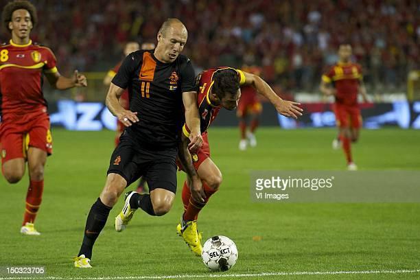 Axel Witsel of BelgiumArjen Robben of HollandSteven Defour of Belgium during the friendly match between Belgium and Netherlands at Koning Boudewijn...