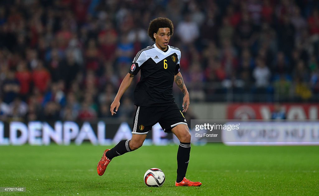 <a gi-track='captionPersonalityLinkClicked' href=/galleries/search?phrase=Axel+Witsel&family=editorial&specificpeople=4345455 ng-click='$event.stopPropagation()'>Axel Witsel</a> of Belguim in action during the UEFA EURO Group B 2016 Qualifier between Wales and Belguim at Cardiff City stadium on June 12, 2015 in Cardiff, United Kingdom.