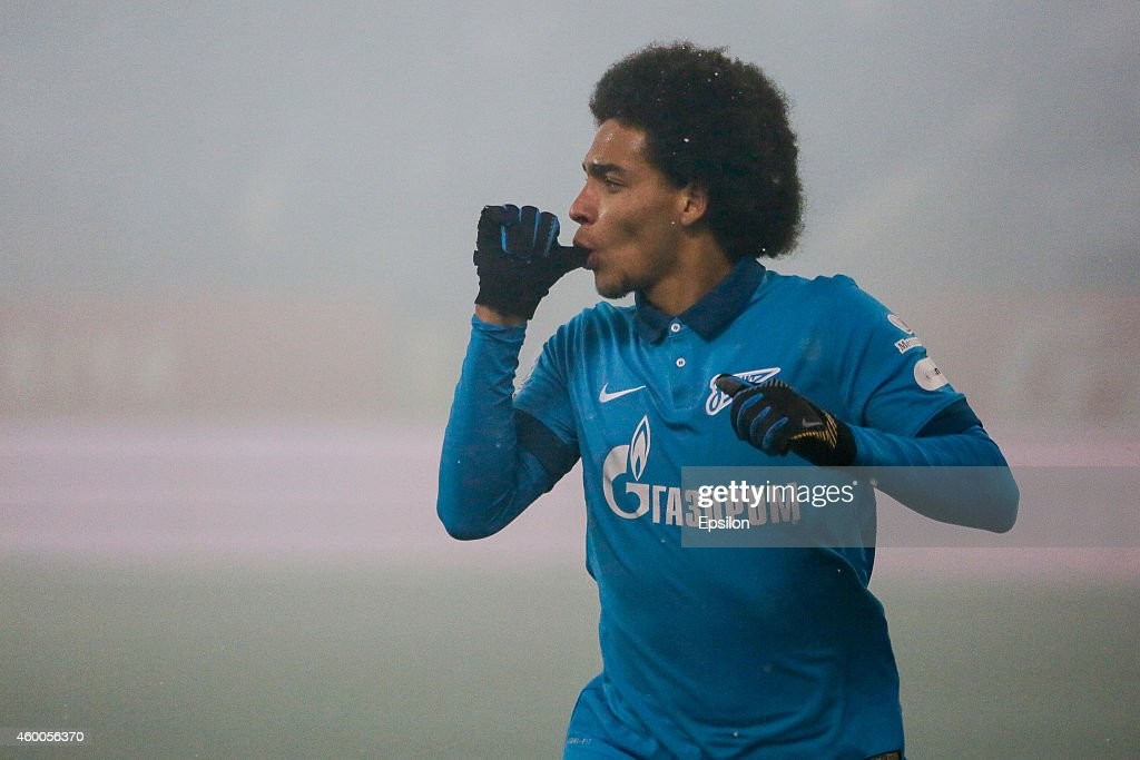 <a gi-track='captionPersonalityLinkClicked' href=/galleries/search?phrase=Axel+Witsel&family=editorial&specificpeople=4345455 ng-click='$event.stopPropagation()'>Axel Witsel</a> of FC Zenit St. Petersburg celebrates his goal during the Russian Football League Championship match between FC Zenit St. Petersburg and FC Krasnodar at the Petrovsky stadium on December 6, 2014 in St. Petersburg, Russia.