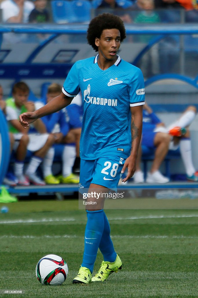 <a gi-track='captionPersonalityLinkClicked' href=/galleries/search?phrase=Axel+Witsel&family=editorial&specificpeople=4345455 ng-click='$event.stopPropagation()'>Axel Witsel</a> of FC Zenit St. Petersburg during the Russian Football League match between FC Zenit St. Petersburg and FC Dinamo Moscow at the Petrovsky stadium on July 19, 2015 in St. Petersburg, Russia.