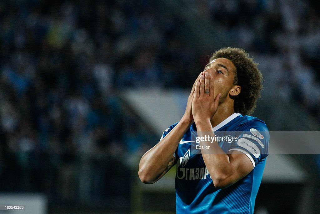 <a gi-track='captionPersonalityLinkClicked' href=/galleries/search?phrase=Axel+Witsel&family=editorial&specificpeople=4345455 ng-click='$event.stopPropagation()'>Axel Witsel</a> of FC Zenit St. Petersburg reacts after missing his chance during the Russian Premier League match between FC Zenit St. Petersburg and FC Terek Grozny at the Petrovsky stadium on September 14, 2013 in St. Petersburg, Russia.