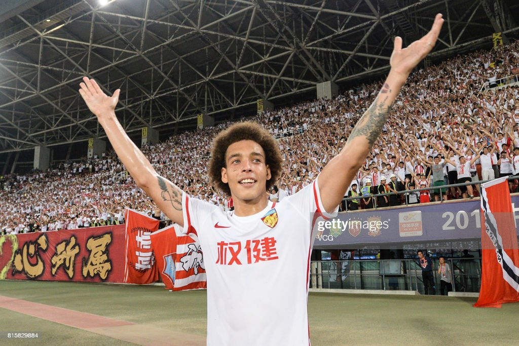 Axel Witsel #28 of Tianjin Quanjian celebrates after winning the 17th round match of 2017 Chinese Football Association Super League (CSL) between Tianjin Quanjian and Shanghai Shenhua at Haihe Educational Football Stadium on July 16, 2017 in Tianjin, China.