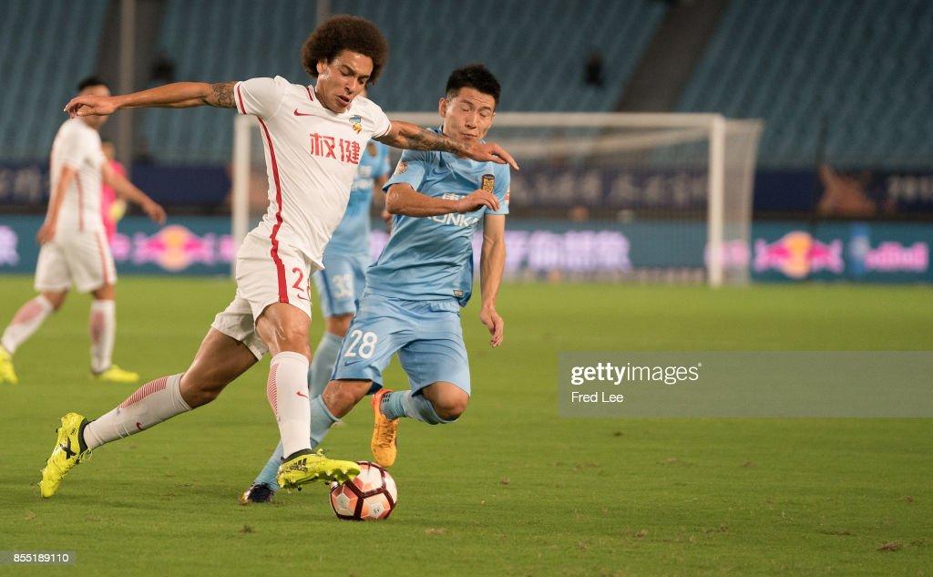 Axel Witsel of Tianjin Quanjian FC in action during the Chinese Super League match between Jiangsu Suning FC and Tianjin Quanjian FC at Nanjing Olympic Stadium on SEPTEMBER 28, 2017 in Nanjing, China.