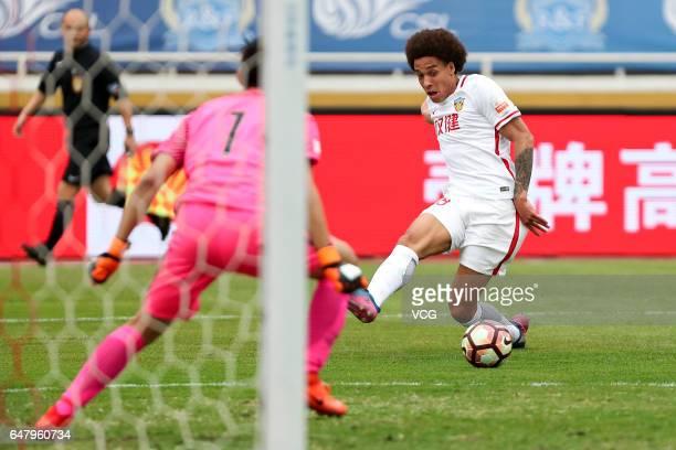 Axel Witsel of Tianjin Quanjian kicks the ball during the Chinese Super League between Guangzhou Fuli and Tianjin Quanjian at Guangzhou Sports Center...