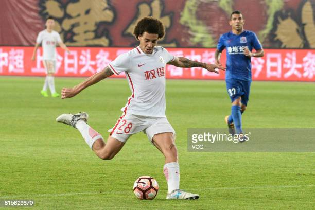 Axel Witsel of Tianjin Quanjian shoots the ball during the 17th round match of 2017 Chinese Football Association Super League between Tianjin...