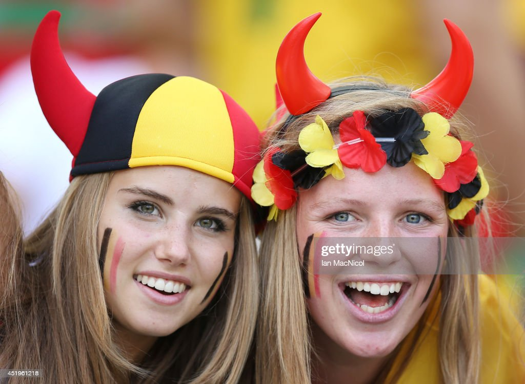 Axelle Despiegelaere cheers on Belgium during the Group H match of the 2014 World Cup between Belgium and Russia at The Maracana Stadium on June 22...