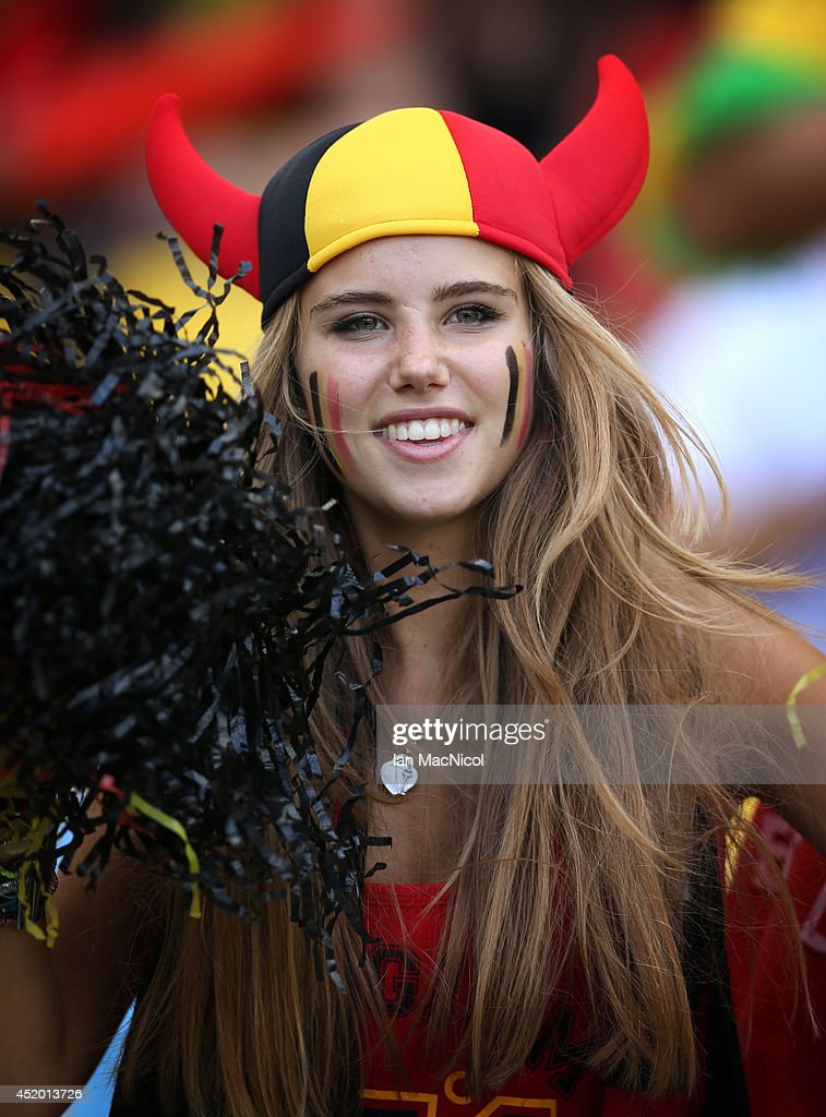 Axelle Despiegelaere during the Group H match of the 2014 World Cup between Belgium and Russia at The Maracana Stadium on June 22, 2014 in Rio de Janeiro, Brazil. Images of Axelle Despiegelaere flooded the internet as hoards of social media users coveted her beauty - prompting French cosmetics company L'Oreal to make an approach for the 17-year-old during the summer transfer window.