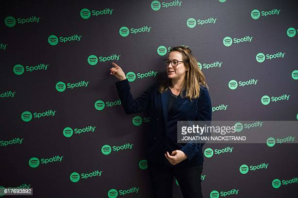 Axelle Lemaire France's Minister of State for Digital Sector and Innovation visits the headquarters of Spotify Swedish music streaming services on...