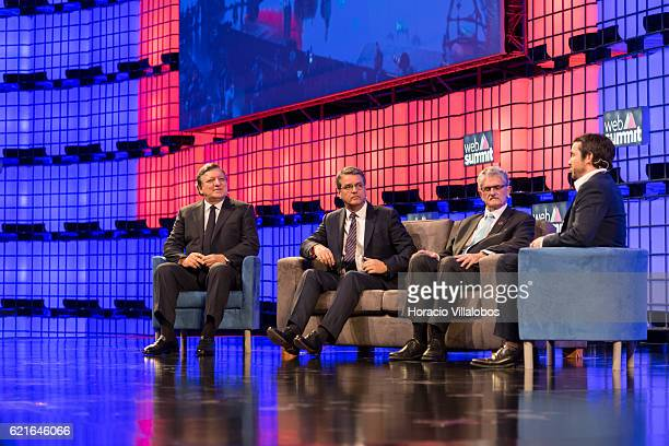 Axelle Lemaire Mogens Lykketoft Roberto Azevedo Jose Barroso and Tom Nuttall join in for the first discussion panel on New Realities at MEO Arena...