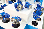Axial piston pumps and hydraulic motors on showcase of store