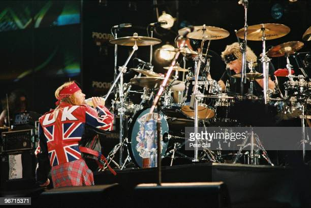 Axl Rose and drummer Matt Sorum of Guns n Roses perform on stage on The Freddie Mercury Tribute Concert at Wembley Stadium on April 20th 1992 in...