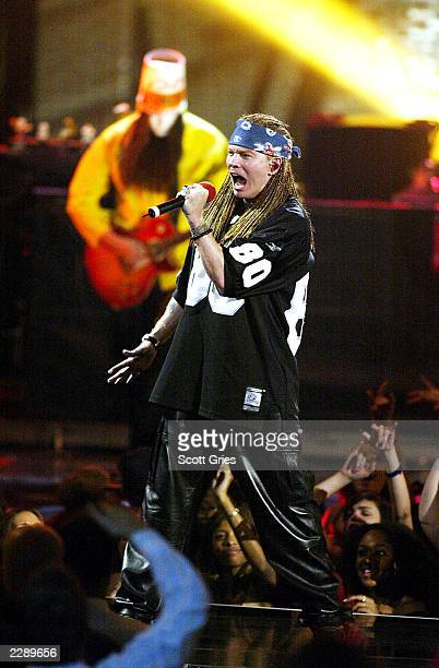 Axl Rose and Guns N' Roses performing at the 2002 MTV Video Music Awards at Radio City Music Hall in New York City August 29 2002 Photo by Scott...