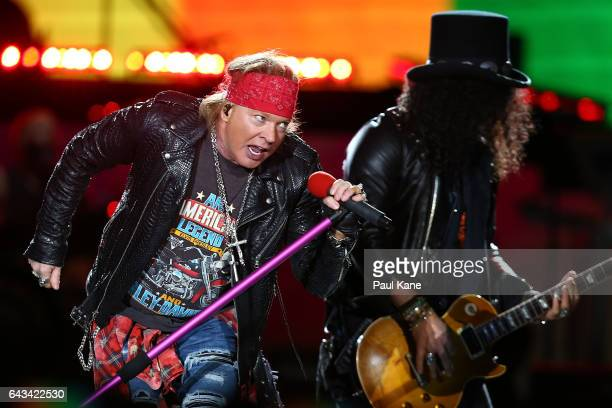 Axl Rose and Slash perfom on stage during the Guns N' Roses 'Not In This Lifetime' Tour at Domain Stadium on February 21 2017 in Perth Australia