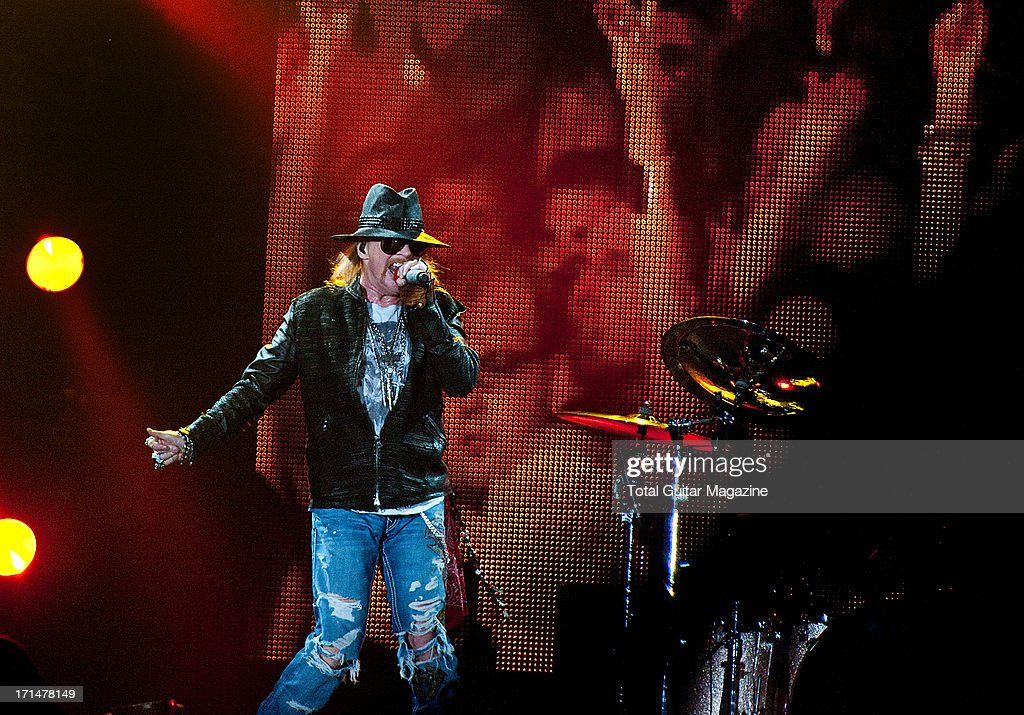 Axl Rose, lead vocalist of American hard rock band Guns N Roses, performing live onstage at the LG Arena, May 26, 2012.