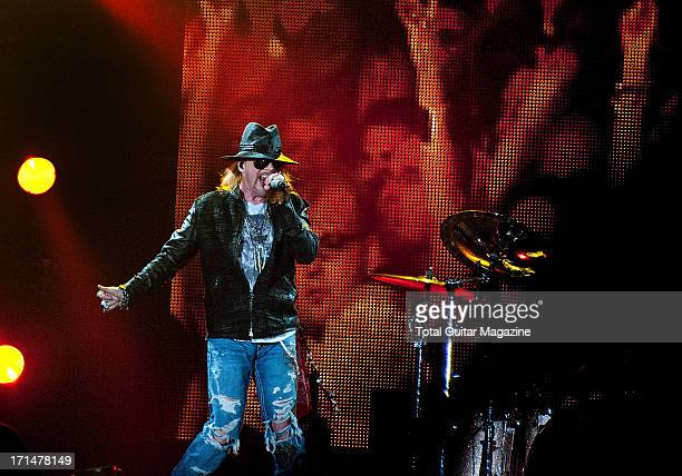 Axl Rose lead vocalist of American hard rock band Guns N Roses performing live onstage at the LG Arena May 26 2012