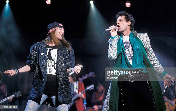 Axl Rose of Guns N' Roses and Mick Jagger of the Rolling Stones