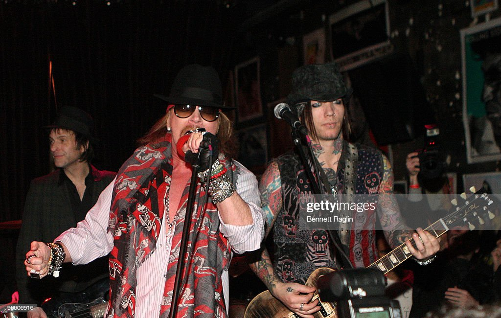 Axl Rose of Guns N Roses perform at the John Varvatos & L'Uomo Vogue Fashion Week party at 315 Bowery on February 11, 2010 in New York City.
